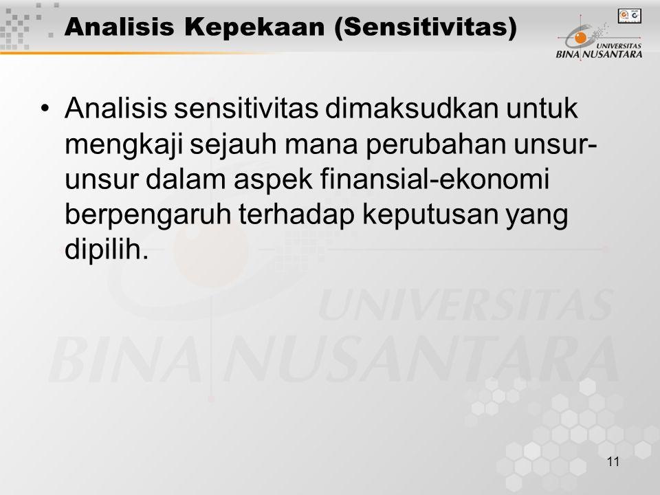 11 Analisis Kepekaan (Sensitivitas) Analisis sensitivitas dimaksudkan untuk mengkaji sejauh mana perubahan unsur- unsur dalam aspek finansial-ekonomi