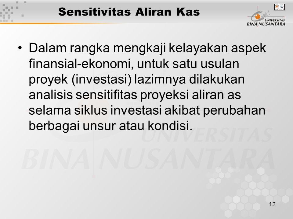 12 Sensitivitas Aliran Kas Dalam rangka mengkaji kelayakan aspek finansial-ekonomi, untuk satu usulan proyek (investasi) lazimnya dilakukan analisis s