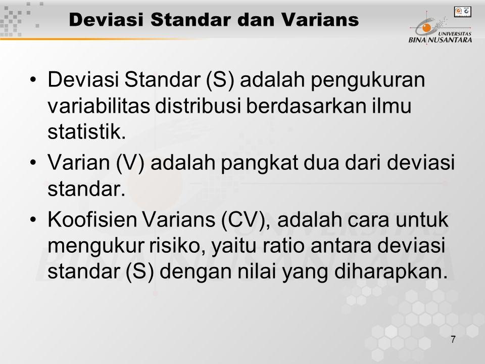 7 Deviasi Standar dan Varians Deviasi Standar (S) adalah pengukuran variabilitas distribusi berdasarkan ilmu statistik. Varian (V) adalah pangkat dua