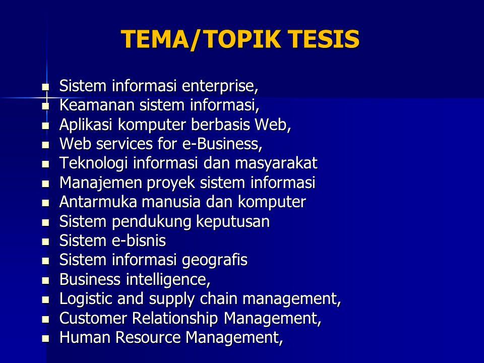 TEMA/TOPIK TESIS Sistem informasi enterprise, Sistem informasi enterprise, Keamanan sistem informasi, Keamanan sistem informasi, Aplikasi komputer ber