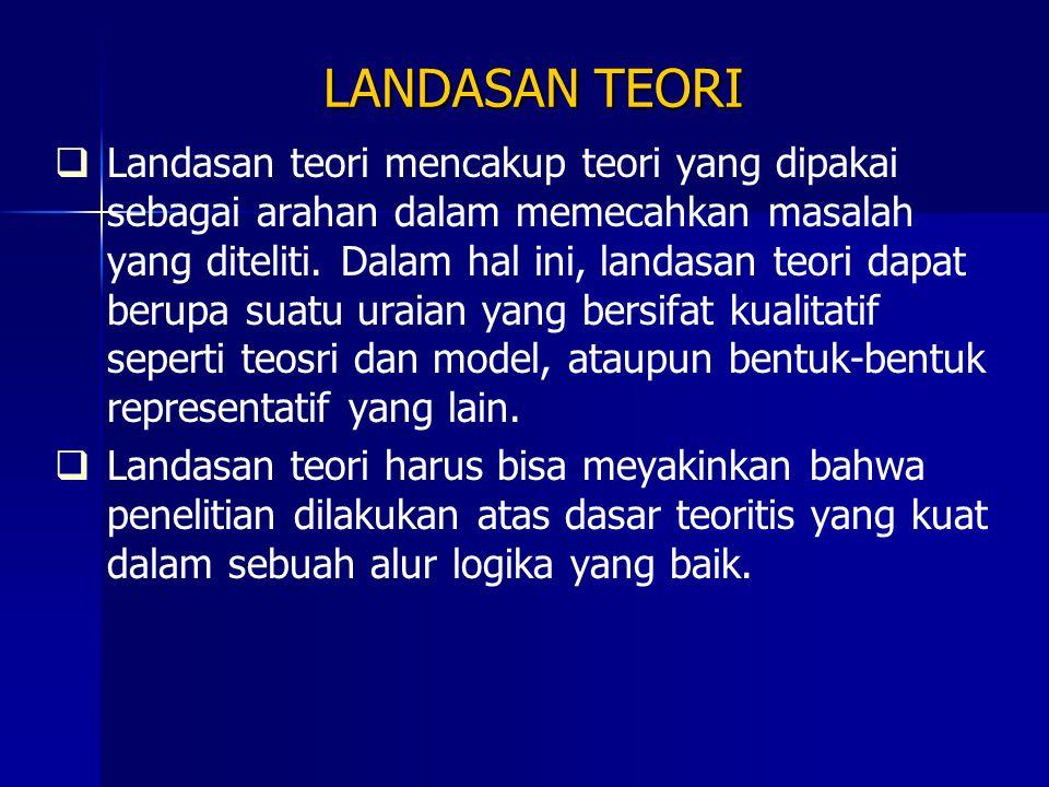 LANDASAN TEORI   Landasan teori mencakup teori yang dipakai sebagai arahan dalam memecahkan masalah yang diteliti. Dalam hal ini, landasan teori dap
