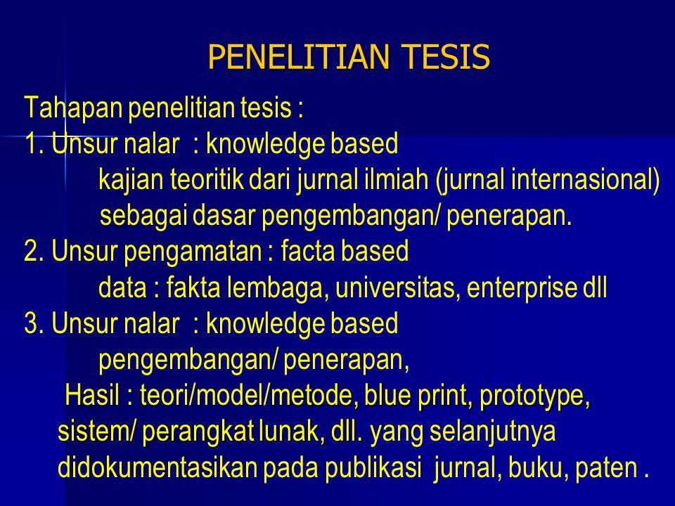 PEMBUATAN TESIS  Setelah selesai melaksanakan penelitian, hasil penelitian dibuat sebagai tesis, dengan sistematika yang baku.