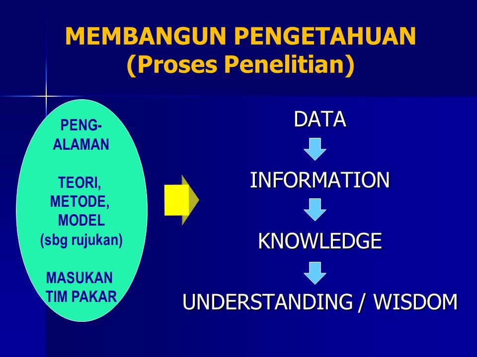 DATAINFORMATIONKNOWLEDGE UNDERSTANDING / WISDOM MEMBANGUN PENGETAHUAN (Proses Penelitian) PENG- ALAMAN TEORI, METODE, MODEL (sbg rujukan) MASUKAN TIM