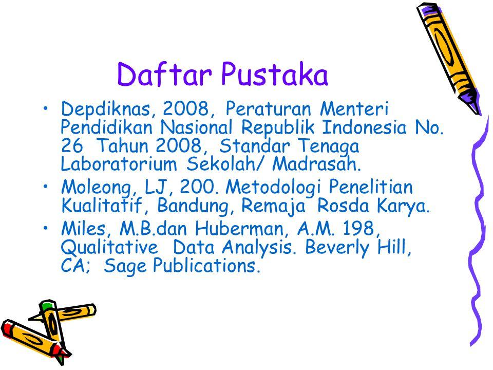Daftar Pustaka Depdiknas, 2008, Peraturan Menteri Pendidikan Nasional Republik Indonesia No. 26 Tahun 2008, Standar Tenaga Laboratorium Sekolah/ Madra