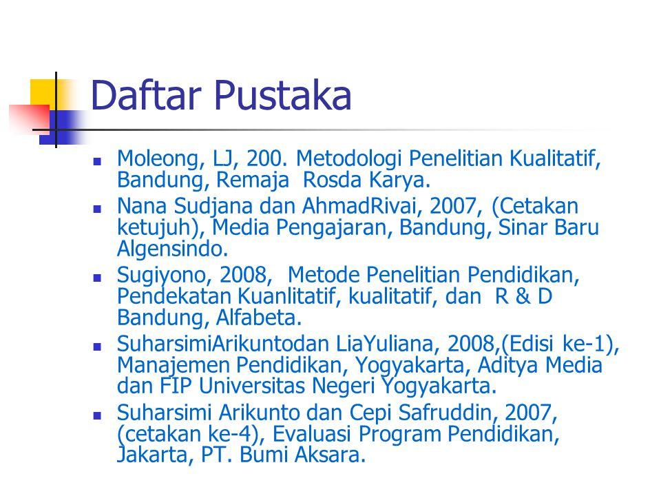 Daftar Pustaka Moleong, LJ, 200. Metodologi Penelitian Kualitatif, Bandung, Remaja Rosda Karya. Nana Sudjana dan AhmadRivai, 2007, (Cetakan ketujuh),