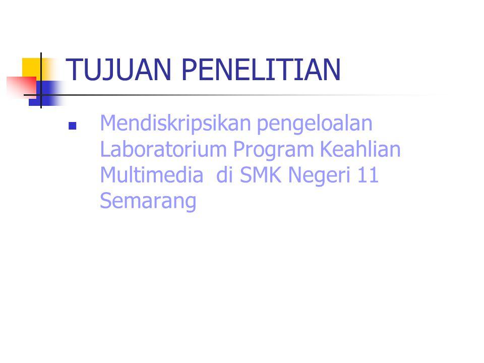 TUJUAN PENELITIAN Mendiskripsikan pengeloalan Laboratorium Program Keahlian Multimedia di SMK Negeri 11 Semarang