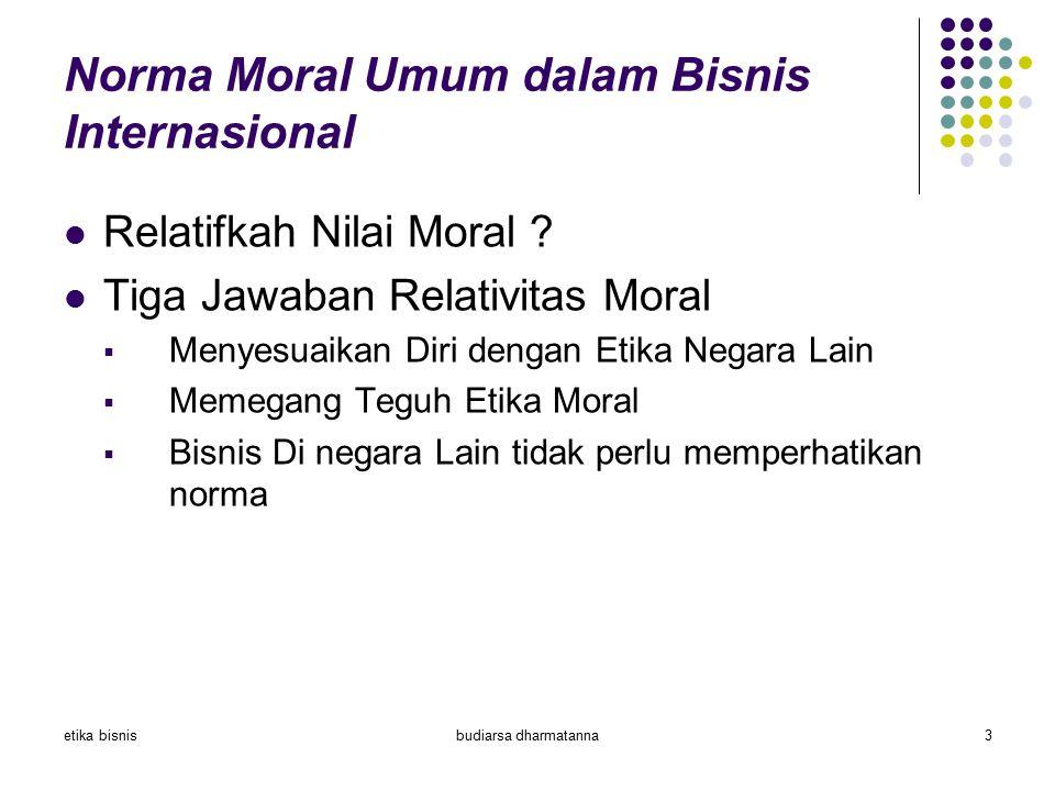 etika bisnisbudiarsa dharmatanna3 Norma Moral Umum dalam Bisnis Internasional Relatifkah Nilai Moral ? Tiga Jawaban Relativitas Moral  Menyesuaikan D