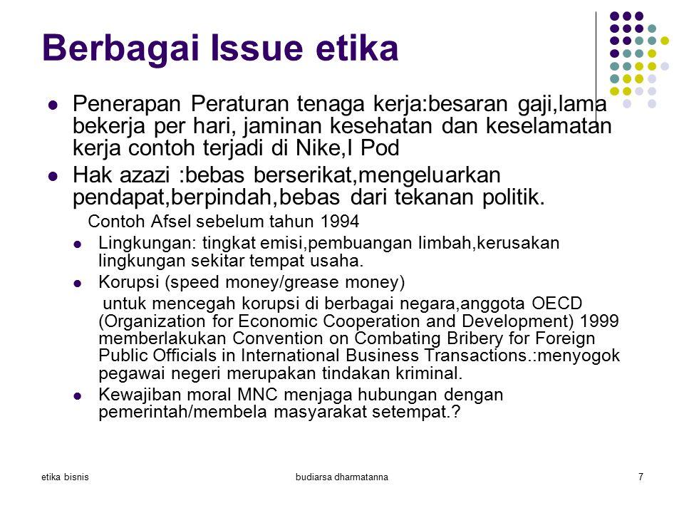 etika bisnisbudiarsa dharmatanna7 Berbagai Issue etika Penerapan Peraturan tenaga kerja:besaran gaji,lama bekerja per hari, jaminan kesehatan dan kese