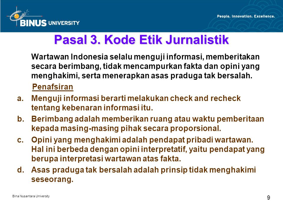 Bina Nusantara University 9 Pasal 3.