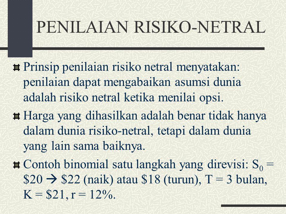PENILAIAN RISIKO-NETRAL Variabel p dalam formula penilaian opsi diinter- pretasikan sebagai probabilitas atas pergerakan naik dalam harga saham, sedan