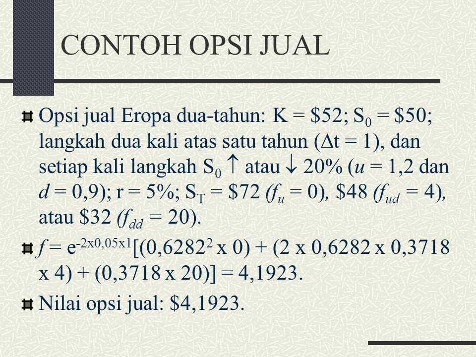 MODEL BINOMIAL DUA- LANGKAH (4) f = e -2r  t [p 2 f uu + 2p(1-p)f ud + (1-p) 2 f dd ]. Variabel-variabel p 2, 2p(1-p), dan (1-p) 2 : probabilitas bah