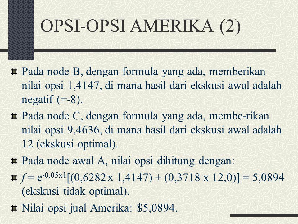 OPSI-OPSI AMERIKA (1) Nilai opsi Amerika pada node akhir = untuk op- si Eropa. Pada node lebih awal, nilai opsi lebih besar dari: 1. nilai f dan 2. ha