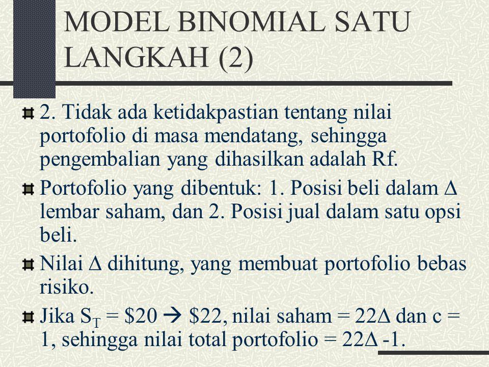 MODEL BINOMIAL SATU LANGKAH (1) Pohon binomial: diagram yang menunjukkan jalan yang dimungkinkan berbeda yang diikuti dengan harga saham pada akhir be