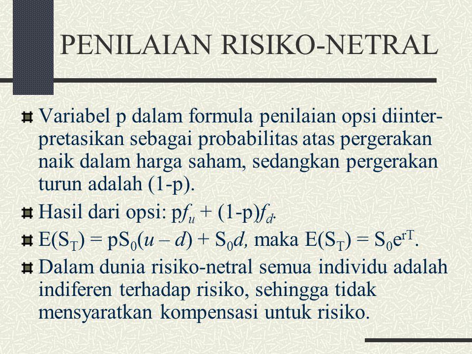 MODEL BINOMIAL SATU LANGKAH (7) Nilai opsi: f = e -rT [pf u + (1-p)f d ]. p = (e rT - d)/(u – d). Formula penentuan harga opsi ini tidak memasukkan pr