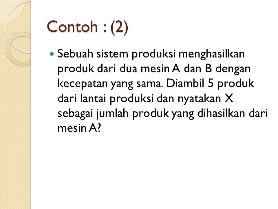 Contoh : (2) Sebuah sistem produksi menghasilkan produk dari dua mesin A dan B dengan kecepatan yang sama. Diambil 5 produk dari lantai produksi dan n