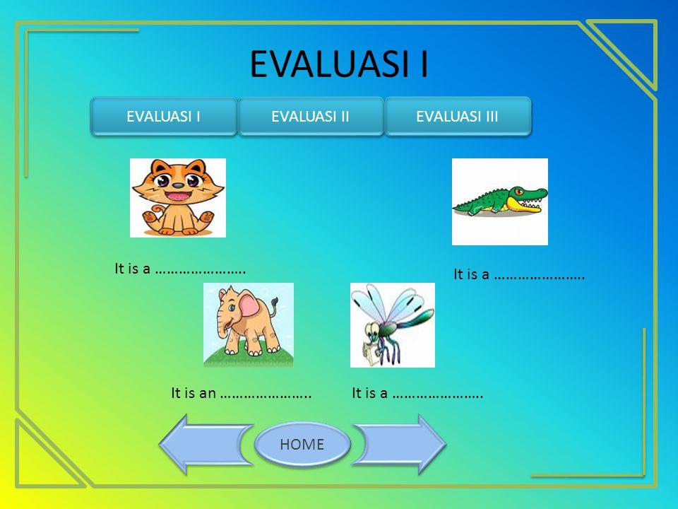 EVALUASI I HOME EVALUASI I EVALUASI II EVALUASI III It is a …………………..It is an ………………….. It is a …………………..