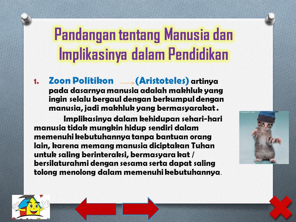 1. Zoon Politikon (Aristoteles) artinya pada dasarnya manusia adalah makhluk yang ingin selalu bergaul dengan berkumpul dengan manusia, jadi makhluk y