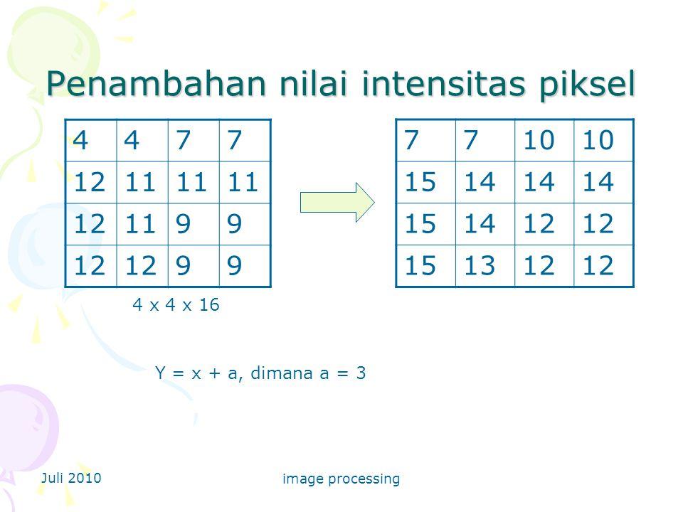 Juli 2010 image processing Penambahan nilai intensitas piksel 4477 1211 121199 12 99 4 x 4 x 16 7710 1514 151412 151312 Y = x + a, dimana a = 3