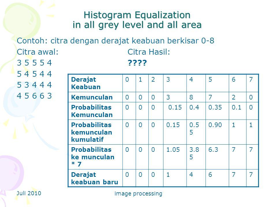 Juli 2010 image processing Histogram Equalization in all grey level and all area Contoh: citra dengan derajat keabuan berkisar 0-8 Citra awal: Citra Hasil: 3 5 5 5 4???.