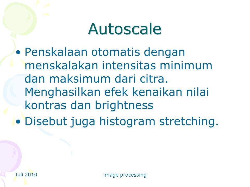 Juli 2010 image processing Autoscale Penskalaan otomatis dengan menskalakan intensitas minimum dan maksimum dari citra.