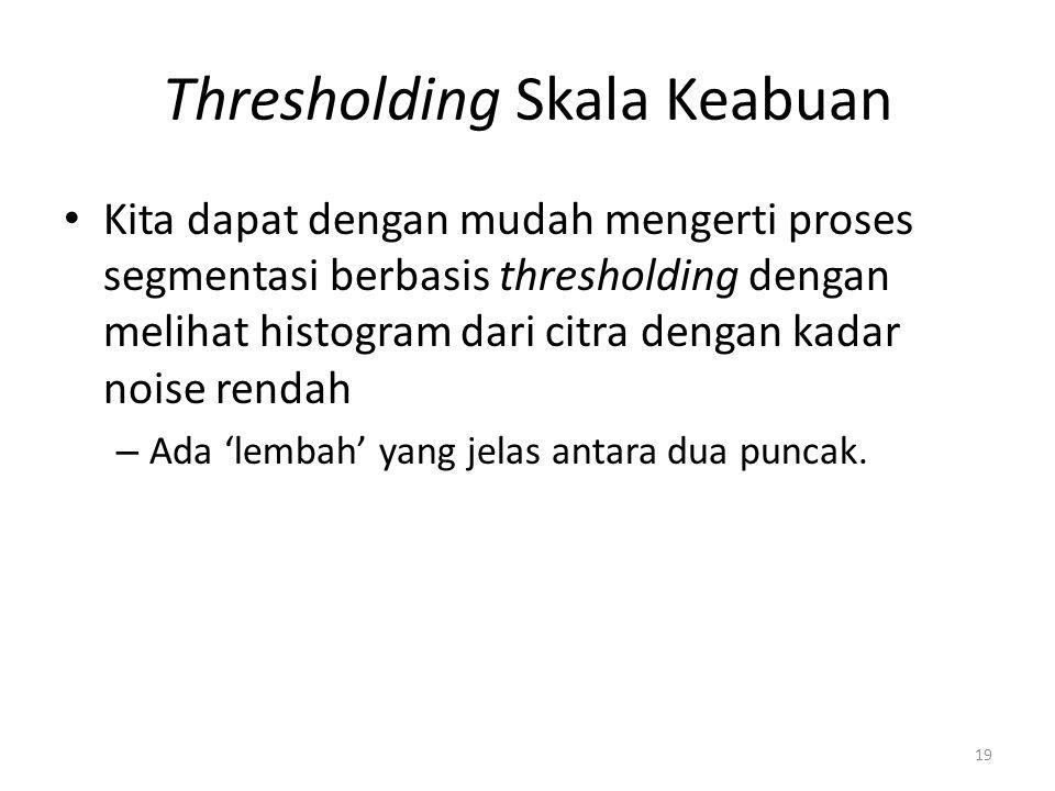 Thresholding Skala Keabuan Kita dapat dengan mudah mengerti proses segmentasi berbasis thresholding dengan melihat histogram dari citra dengan kadar n