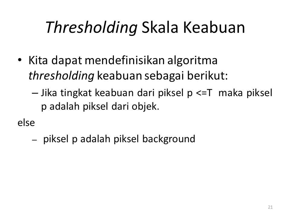Thresholding Skala Keabuan Kita dapat mendefinisikan algoritma thresholding keabuan sebagai berikut: – Jika tingkat keabuan dari piksel p <=T maka pik