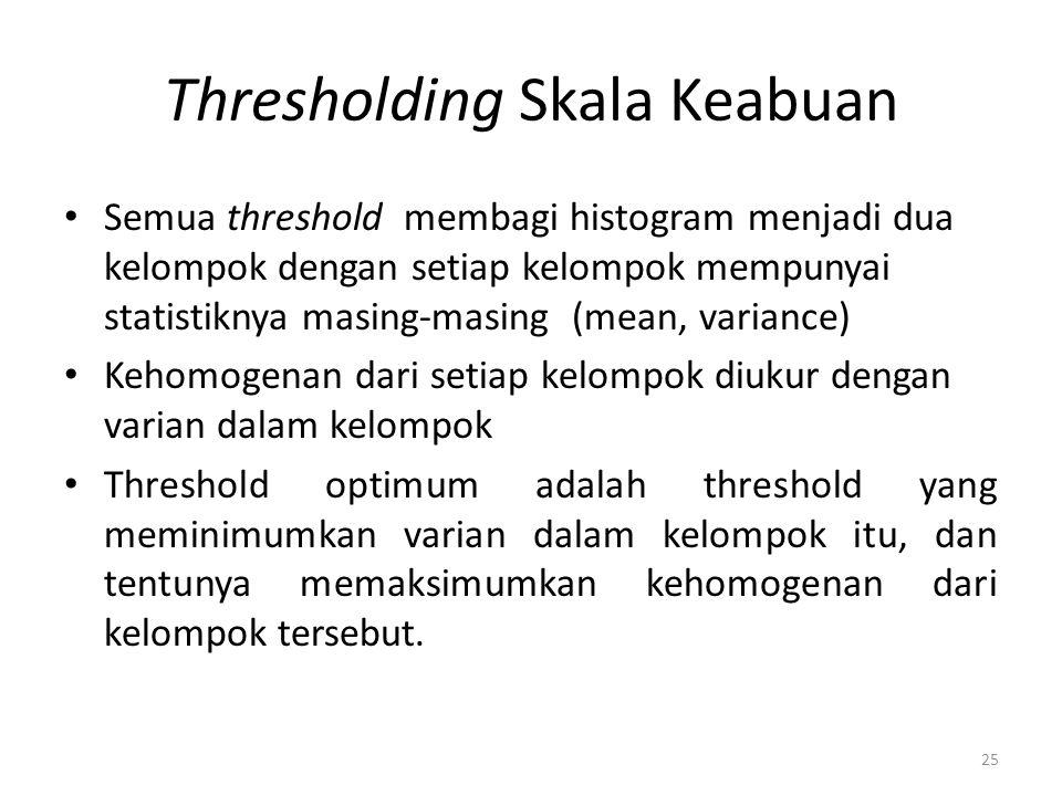 Thresholding Skala Keabuan Semua threshold membagi histogram menjadi dua kelompok dengan setiap kelompok mempunyai statistiknya masing-masing (mean, v