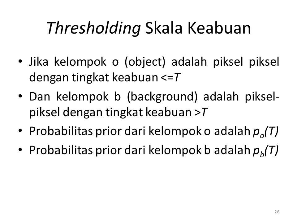 Thresholding Skala Keabuan Jika kelompok o (object) adalah piksel piksel dengan tingkat keabuan <=T Dan kelompok b (background) adalah piksel- piksel