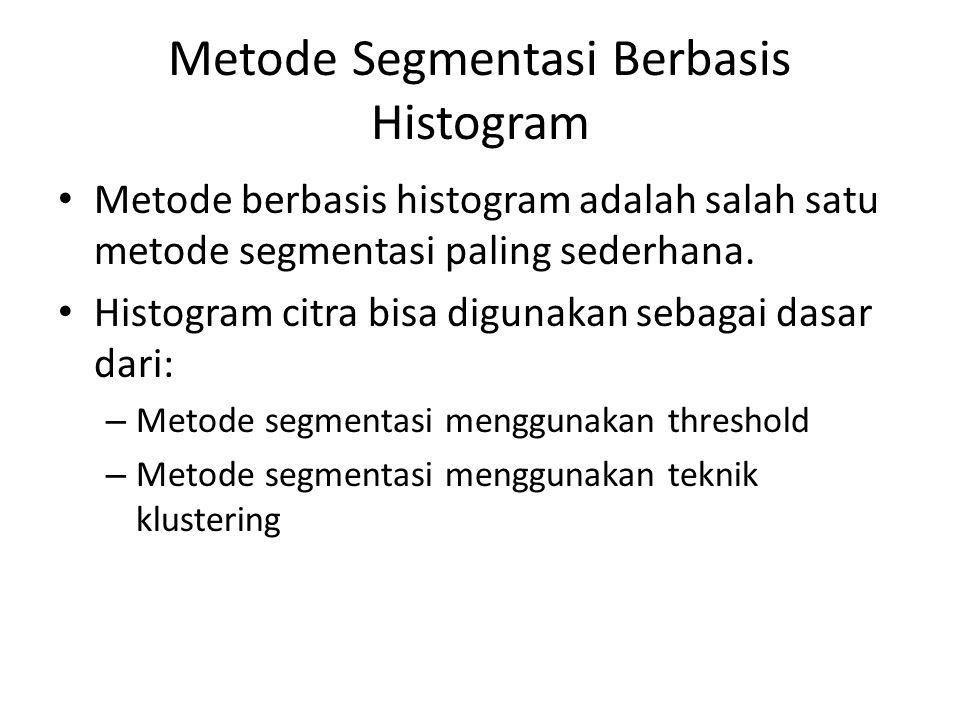 Metode Segmentasi Berbasis Histogram Metode berbasis histogram adalah salah satu metode segmentasi paling sederhana. Histogram citra bisa digunakan se