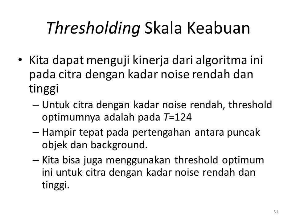 Thresholding Skala Keabuan Kita dapat menguji kinerja dari algoritma ini pada citra dengan kadar noise rendah dan tinggi – Untuk citra dengan kadar no