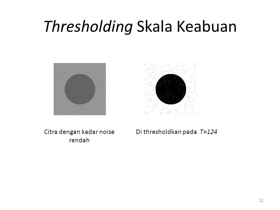 Thresholding Skala Keabuan 32 Citra dengan kadar noise rendah Di thresholdkan pada T=124