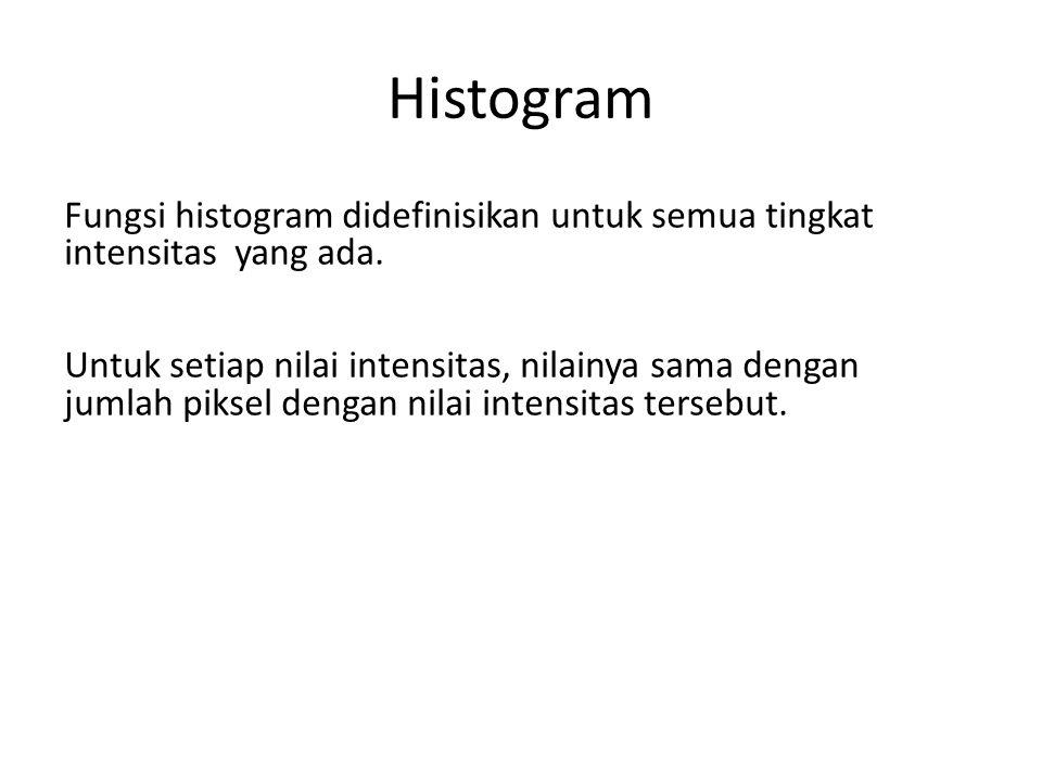 Histogram Fungsi histogram didefinisikan untuk semua tingkat intensitas yang ada. Untuk setiap nilai intensitas, nilainya sama dengan jumlah piksel de