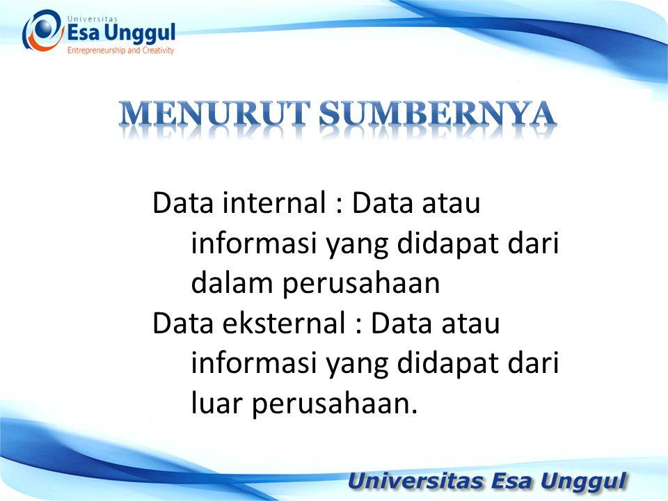Data internal : Data atau informasi yang didapat dari dalam perusahaan Data eksternal : Data atau informasi yang didapat dari luar perusahaan.