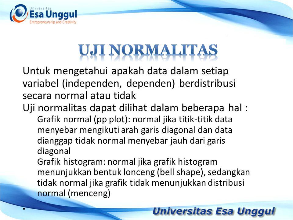 Untuk mengetahui apakah data dalam setiap variabel (independen, dependen) berdistribusi secara normal atau tidak Uji normalitas dapat dilihat dalam be