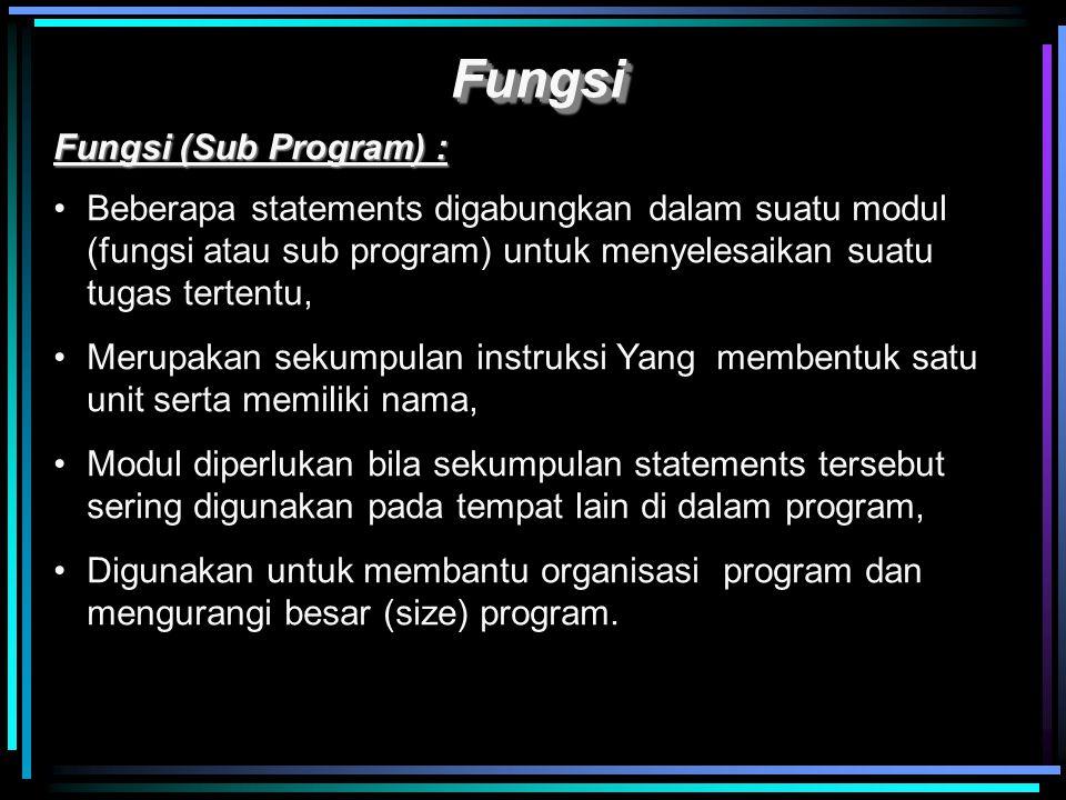 Contoh program: /* Program C menghasilkan return value */ #include float lbsTokg( float ); /* function declaration */ void main() { float lbs, kgs; printf ( Enter your weight in pounds : ); scanf( %f , &lbs ); kgs = lbsTokg( lbs ); /* calling function */ printf ( Your weight in Kilograms is %f , kgs); } /* lbsTokg () function definition */ float lbsTokg ( float pounds ) { float kilograms = 0.453592 * pounds; return kilograms; }