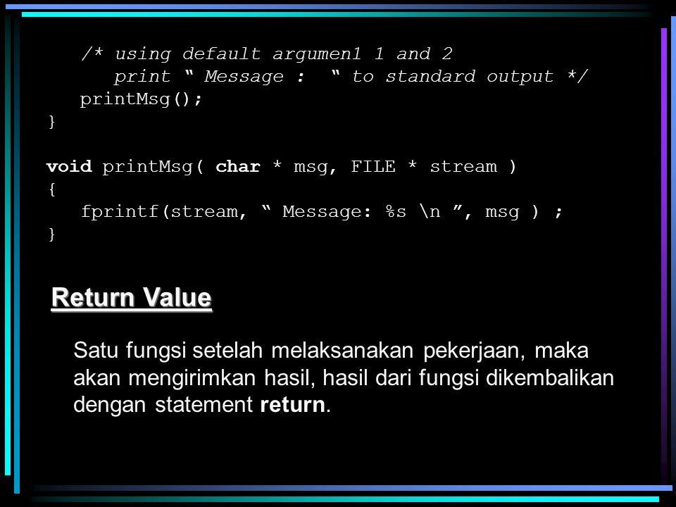 "/* using default argumen1 1 and 2 print "" Message : "" to standard output */ printMsg(); } void printMsg( char * msg, FILE * stream ) { fprintf(stream,"