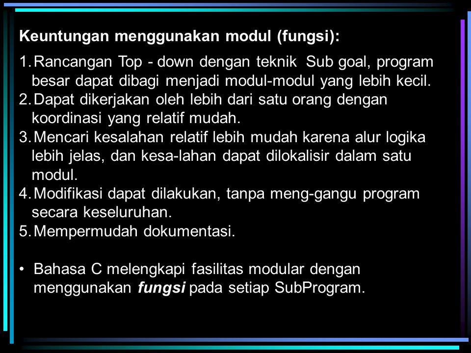 Keuntungan menggunakan modul (fungsi): 1.Rancangan Top - down dengan teknik Sub goal, program besar dapat dibagi menjadi modul-modul yang lebih kecil.