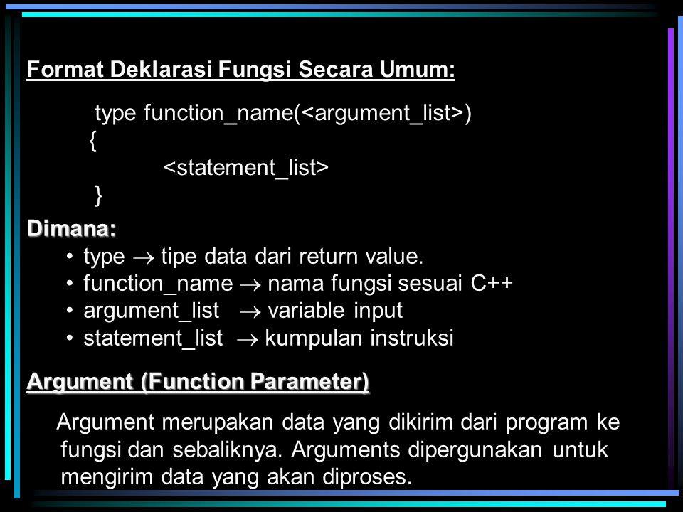 Dimana: type  tipe data dari return value. function_name  nama fungsi sesuai C++ argument_list  variable input statement_list  kumpulan instruksi