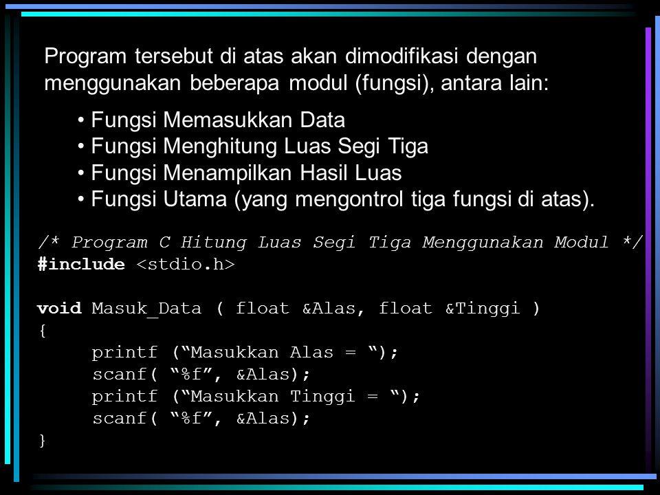 float Hitung_Luas ( float Alas, float Tinggi ) { float Luas; Luas = 0.5 * Alas * Tinggi; return Luas; } void Tampil_Data ( float Luas ) { printf ( Luas Segi Tiga = %f \n , Luas ); } void main() { float Alas, Tinggi, Luas; /* Pemanggilan Fungsi */ Masuk_Data ( Alas, Tinggi ); Luas = Hitung_Luas ( Alas, Tinggi ); Tampil_Data ( Luas ); }