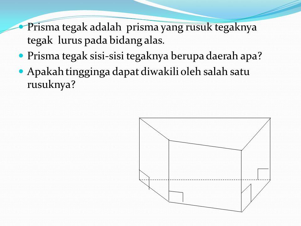 Prisma tegak adalah prisma yang rusuk tegaknya tegak lurus pada bidang alas. Prisma tegak sisi-sisi tegaknya berupa daerah apa? Apakah tingginga dapat