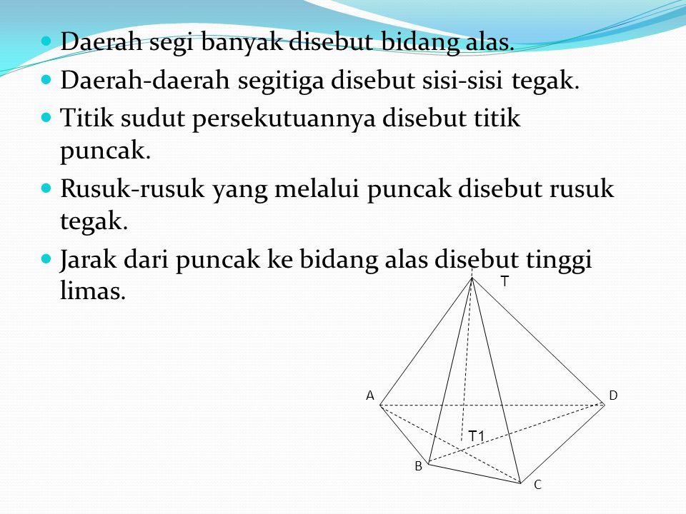 Daerah segi banyak disebut bidang alas. Daerah-daerah segitiga disebut sisi-sisi tegak. Titik sudut persekutuannya disebut titik puncak. Rusuk-rusuk y