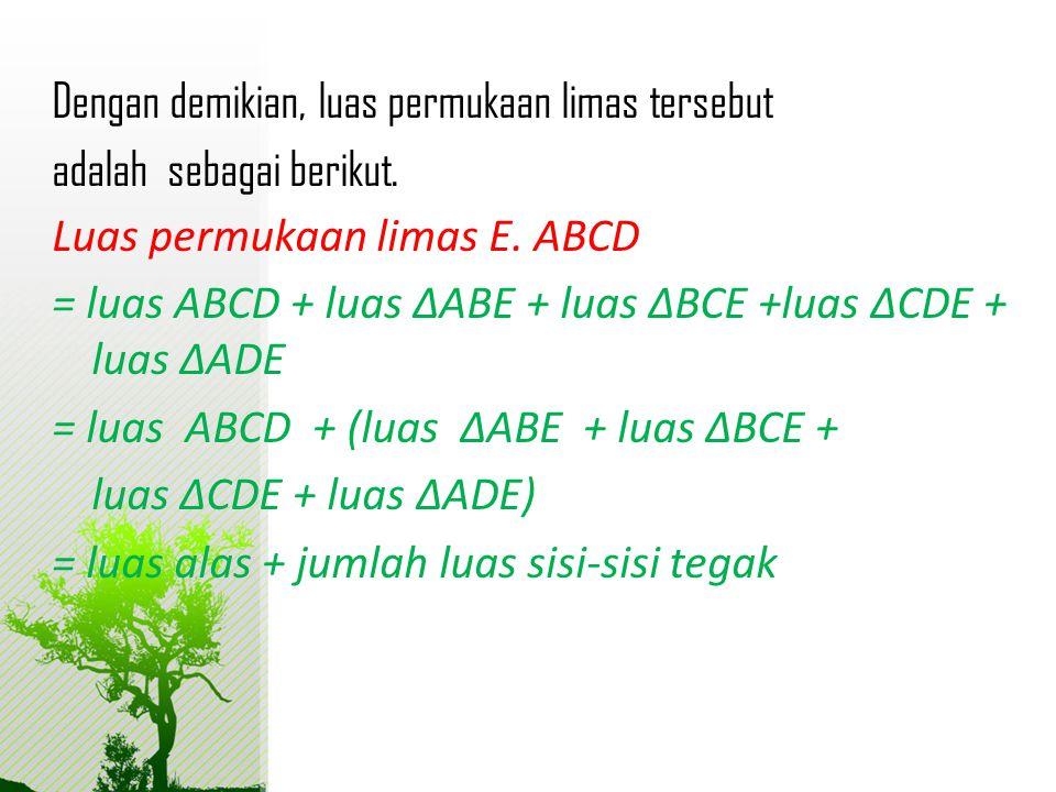 Dengan demikian, luas permukaan limas tersebut adalah sebagai berikut. Luas permukaan limas E. ABCD = luas ABCD + luas ΔABE + luas ΔBCE +luas ΔCDE + l