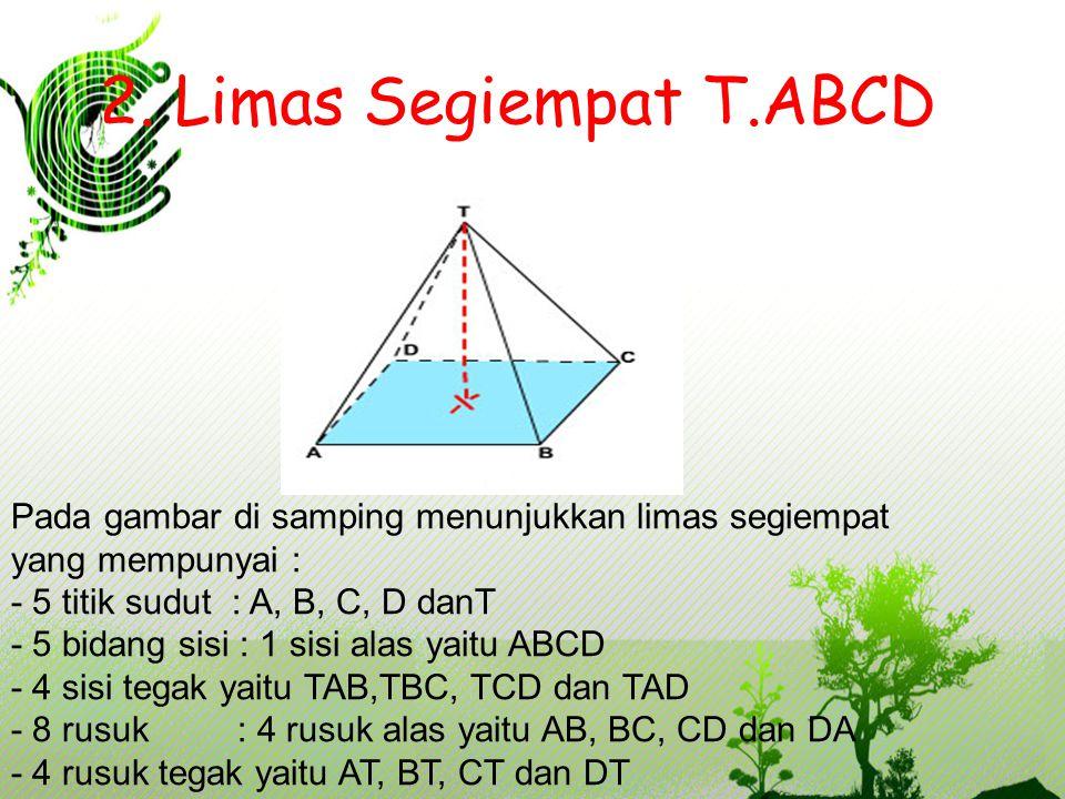 2. Limas Segiempat T.ABCD Pada gambar di samping menunjukkan limas segiempat yang mempunyai : - 5 titik sudut : A, B, C, D danT - 5 bidang sisi : 1 si
