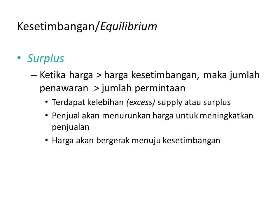 Kesetimbangan/Equilibrium Surplus – Ketika harga > harga kesetimbangan, maka jumlah penawaran > jumlah permintaan Terdapat kelebihan (excess) supply atau surplus Penjual akan menurunkan harga untuk meningkatkan penjualan Harga akan bergerak menuju kesetimbangan