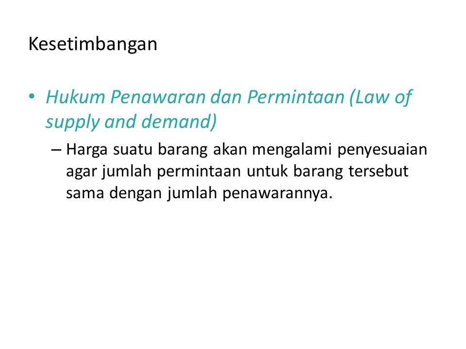 Kesetimbangan Hukum Penawaran dan Permintaan (Law of supply and demand) – Harga suatu barang akan mengalami penyesuaian agar jumlah permintaan untuk barang tersebut sama dengan jumlah penawarannya.