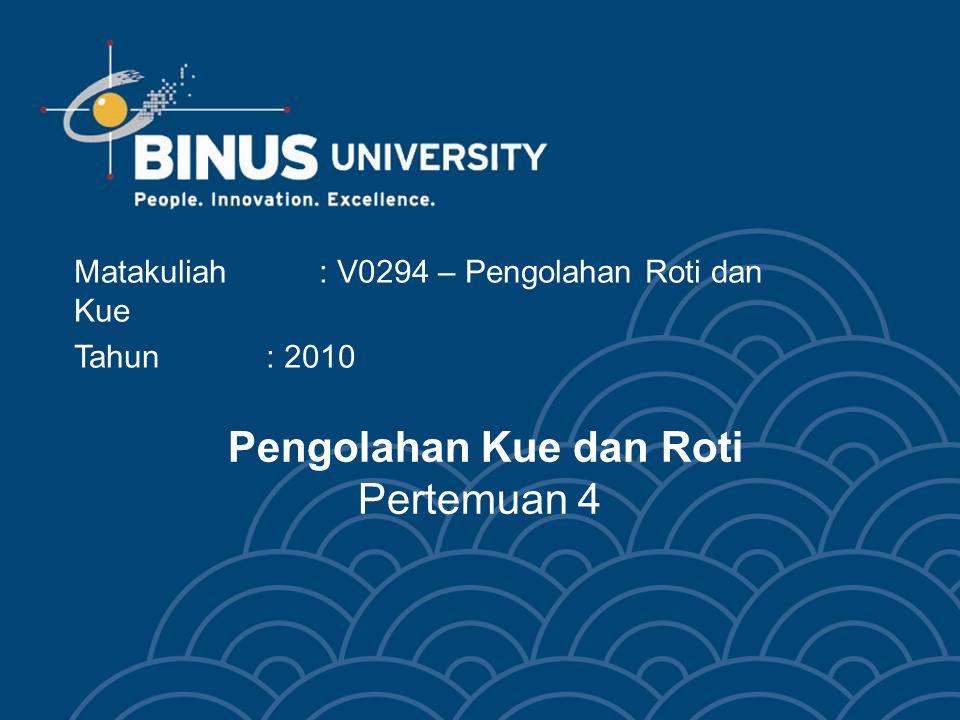 Bina Nusantara HO 07083 Learning Outcomes Mahasiswa dapat mengidentifikasikan mengkategorikan, dan menghubungkan tiap-tiap jenis bread, pastry, cream dan cookies C5
