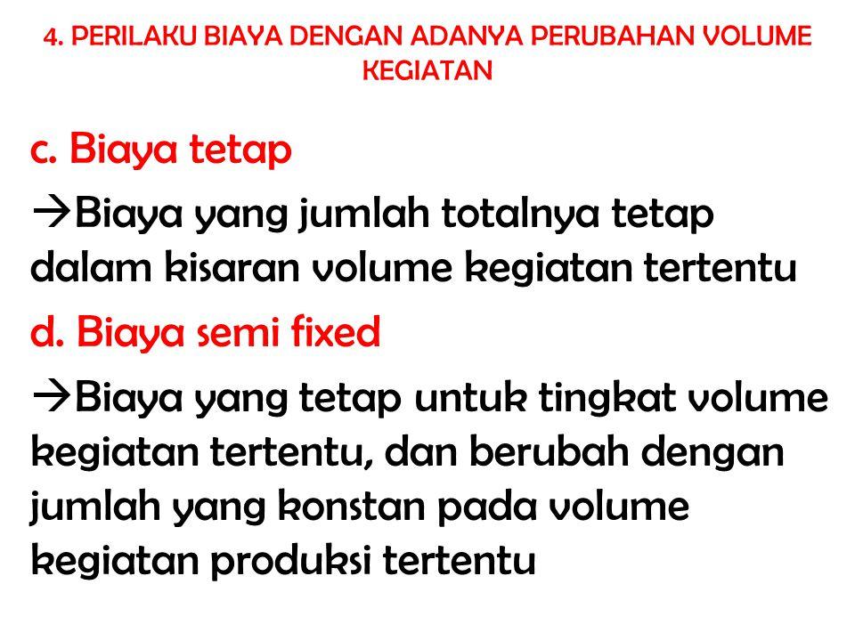 c. Biaya tetap  Biaya yang jumlah totalnya tetap dalam kisaran volume kegiatan tertentu d. Biaya semi fixed  Biaya yang tetap untuk tingkat volume k