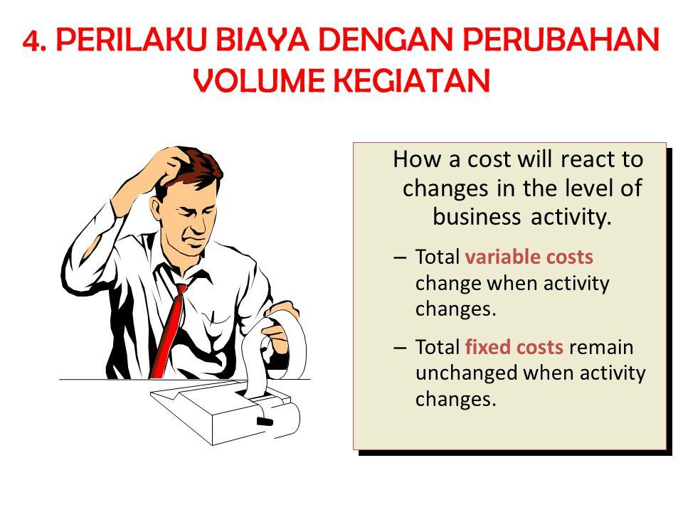 a.Biaya variabel  Biaya yang jumlah totalnya berubah sebanding dengan perubahan volume kegiatan b.