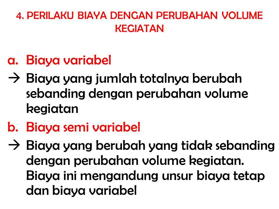 a.Biaya variabel  Biaya yang jumlah totalnya berubah sebanding dengan perubahan volume kegiatan b. Biaya semi variabel  Biaya yang berubah yang tida