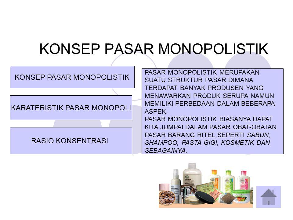 KARATERISTIK PASAR MONOPOLISTIK KARATERISTIK PASAR MONOPOLI KONSEP PASAR MONOPOLISTIK RASIO KONSENTRASI KARATERISTIK PASAR MONOPOLI CIRI-CIRI PASAR MONOPOLISTIK : 1.TERDAPAT BANYAK PRODUSEN DAN PENJUAL 2.ADANYA DIFERENSIASI PRODUK 3.PRODUSEN DAPAT MEMPENGARUHI HARGA 4.PRODUSEN DAPAT KELUAR MASUK PASAR 5.PROMOSI PENJUALAN HARUS AKTIF